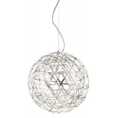 Luminaire suspendu format moyen de style sphère au fini chrome au DEL intégré.