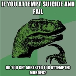 Philosoraptor - IF you attempt suicide and fail Do you get arrested for attempted murder?Funny Pictures, Stars Wars, Attempt Murder, Funny Pin, Attempt Suicide