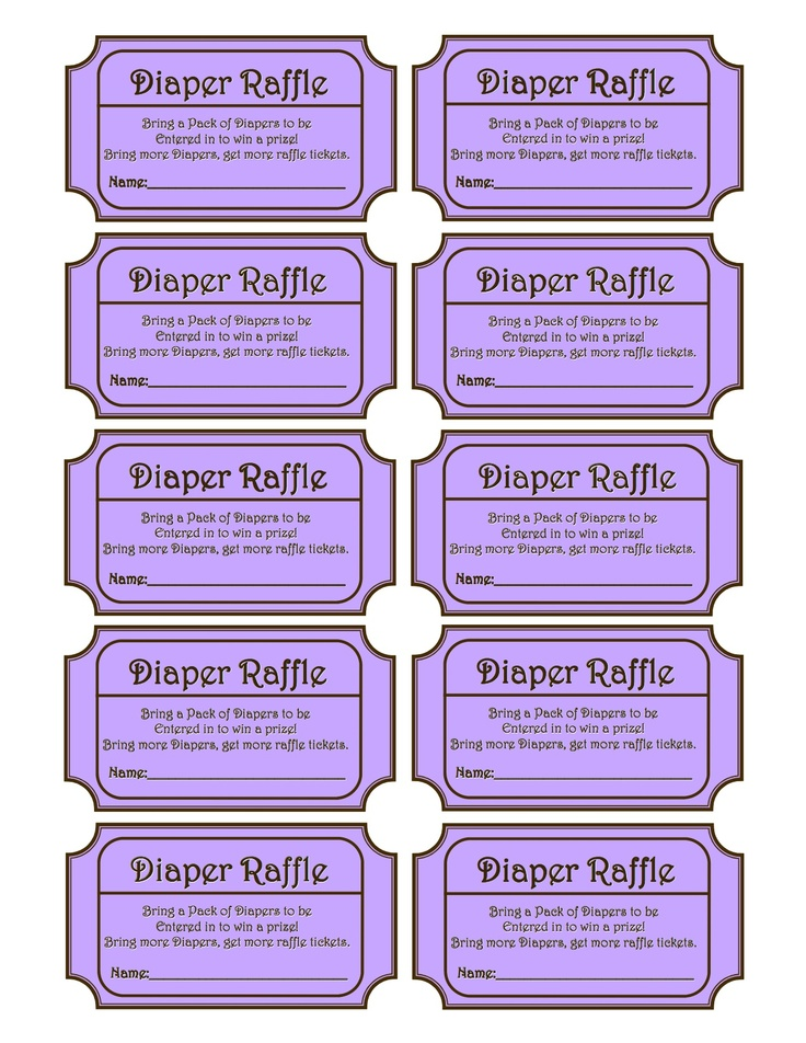 INSTANT DOWNLOAD  Purple Printable Baby Shower Diaper Raffle Ticket