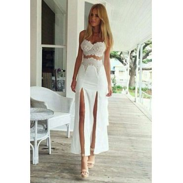 Sexy V Neck Off The Shoulder Sleeveless Splits Lace Patchwork White Polyester Ankle Length Dress