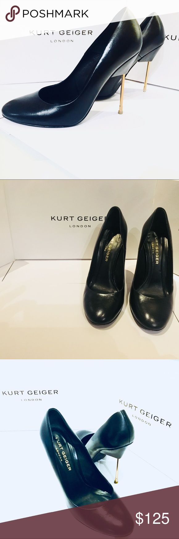 Kurt Geiger London Cigarette Stiletto Kurt Geiger of London Black Leather Metallic Gold Cigarette Stiletto is a beautifully hand made shoes with a leather interior.  These are perfectly balanced for comfort.  Worn a few times.  Comes in original box. kurt geiger Shoes Heels