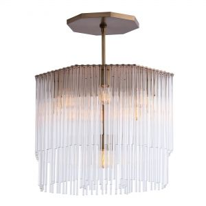 New The antique brass canopy and frame add richness while tiers of cascading glass create a soothing waterfall effect Shown with a Radio bulb