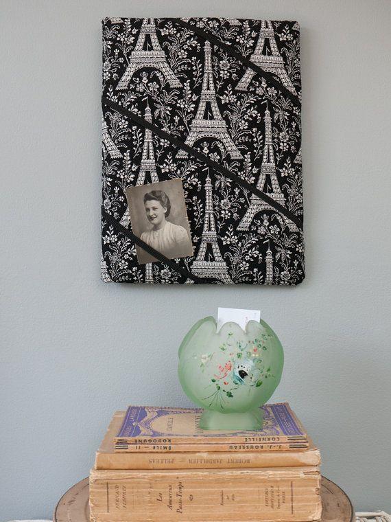 Black Eiffel Tower Paris handmade fabric by freshdarling on Etsy