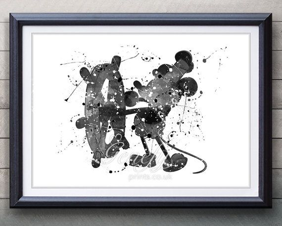 Disney Mickey Mouse Steamboat Willie Watercolor Art Poster Print - Watercolor Painting - Artwork - Home Decor - Kids Decor - Nursery Decor