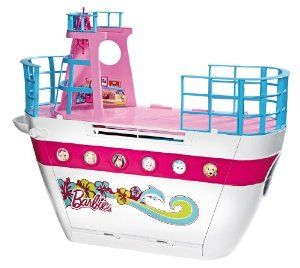 Barbie Sisters Cruise Ship by Mattel. $54.99. Includes cruise ship, swing, pool, 2 water slides, and tons of accessories. Open the ship up to reveal a grand buffet and a deck with swing. A glamorous addition to your Barbie collection that lets you sail the seas with Barbie. Barbie and her sisters are ready for a trip on their family cruise ship. Fabulous pool with 2 slides and dolphin fountain for splish-splashin fun. Amazon.com                All aboard for tropical advent...