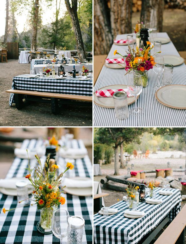 Green Gingham TAble Cloths, remind me of Daddy's Shirts?!  Sure we could find some or I could source cheap fabric