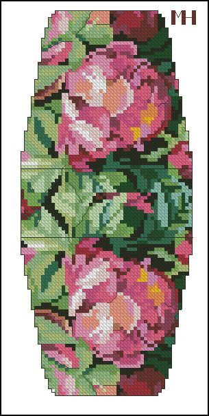Cross-stitch Floral purse pattern... no color chart available, just use pattern chart as your color guide.. or choose your own colors..
