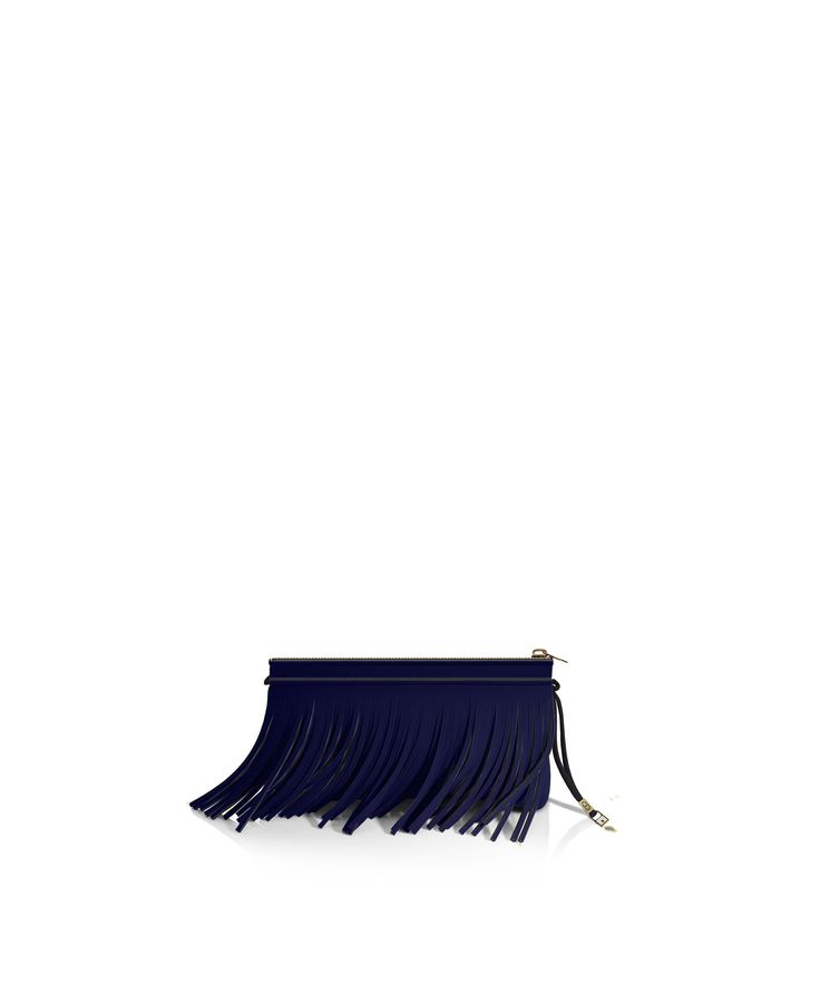 Stand out from the crowd with this fringed clutch. Tough-luxe style with attitude now comes in a range of colours.  Comes with a detachable strap.  Size  290 x 150 x 25 mm  160g  Made in Italy  Vegan Friendly  Made from Poly-Lycra Fabric   Metallic Dark Blue
