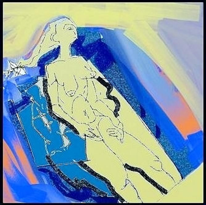 "Victor Shmokhin. ""Дева с белым бантом"" "" Бумага /компьютерное искусство.30 х 30  2016г."