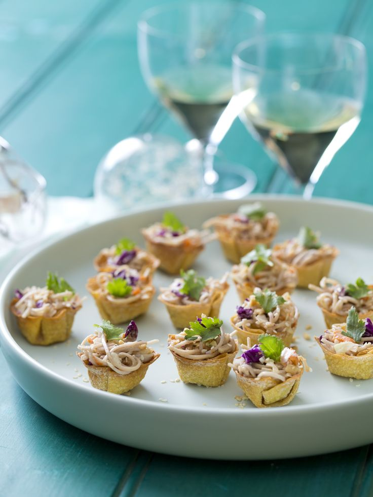 Peanut soba noodle wonton cups | Thermomix Festive Flavour Cookbook and Recipe Chip
