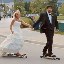 Well you're getting married so what better way than rolling down the altar on your longboard. Cute vid of Vancouver's Marty and Sally tying the knot with their quivers by their side.