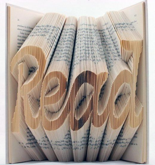 Book art - fold the pages to create words!    Now, to figure out how to fold those pages......