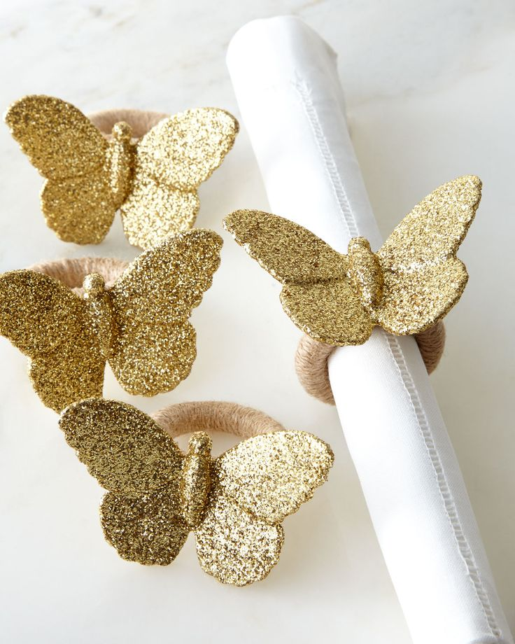 Sparkle Butterfly Napkin Rings, Set of 4