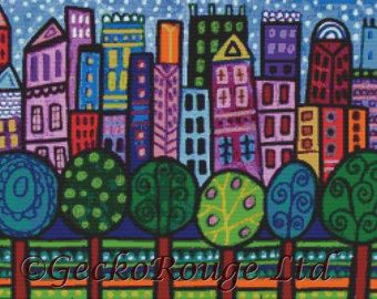 Modern Cross Stitch Kit 'Manhattan NY Abstract City' by GeckoRouge