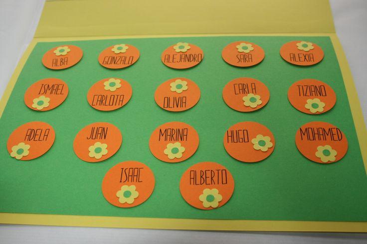 Interior tarjeta agradecimiento para el profesor con los nombres de sus alumnos de 3 años que se gradúan. Hecho a mano.
