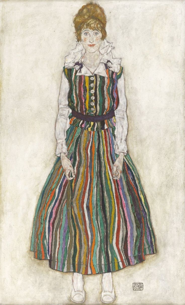 We often don't hear their names. But maybe we should. EGON SCHIELE, EDITH SCHIELE IN STRIPED DRESS, 1915 © COLLECTION OF THE GEMEENTEMUSEUM DEN HAAG OIL ON CANVAS 180.2 X 110.1 CM