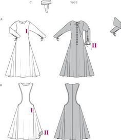 "Burda 7977 ""Misses Medieval Dress Costume"" Reportedly goes together in 9 hours."