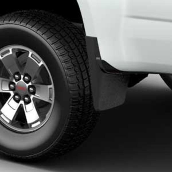 2015 #Canyon Splash Guards- Rear Molded, with #GMC Logo: Designed to accent the exterior of your Canyon, these Molded Splash Guards fit directly behind the rear wheels to help protect against tire splash and mud.