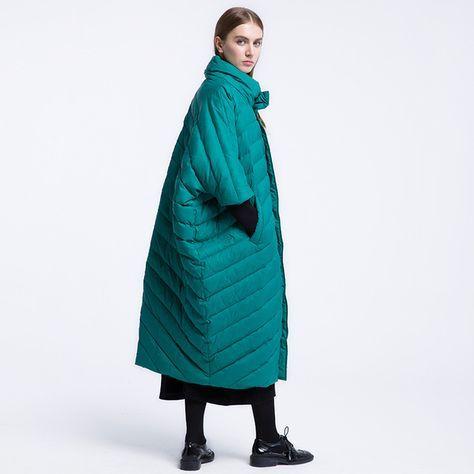 CH249 Новое Прибытие Зима 2016 свободно случайные стенд воротник негабаритных длинный плащ пальто белая утка пуховик женщин