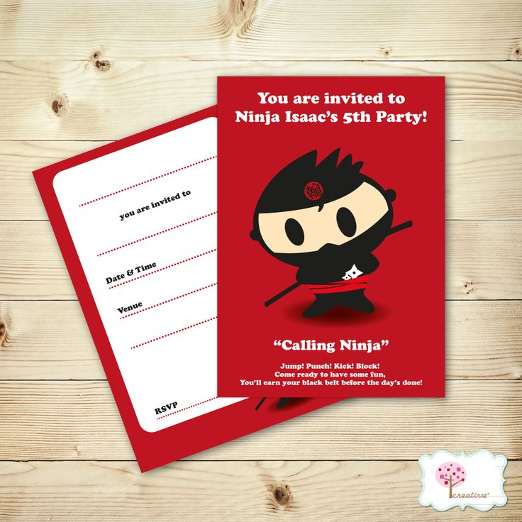 Little Ninja Party is one of our fun and eye catching range!  http://creativesquare.com.au/collections/home/products/ninja-party-invites