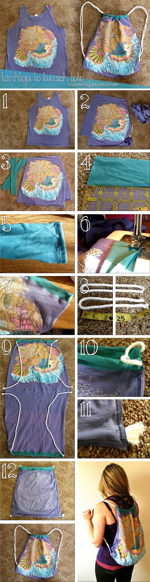 How to make a drawstring backpack out of a t-shirt