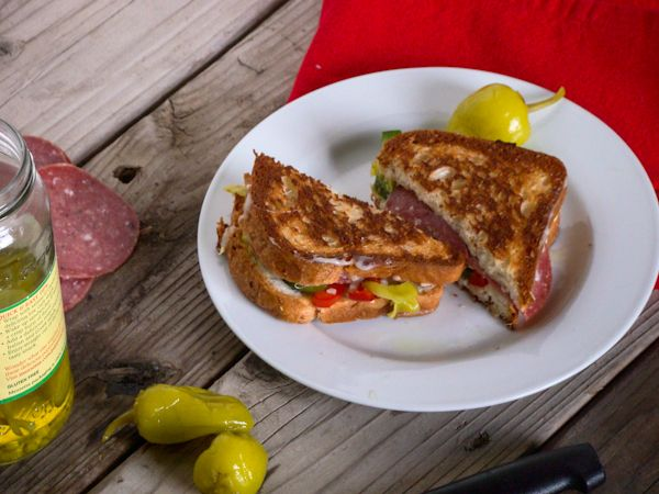 Antipasto Grilled Cheese Sandwich {Gluten Free}