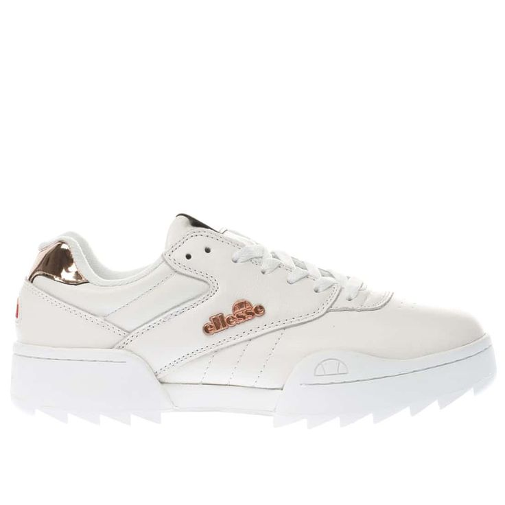 womens white & gold ellesse plativo trainers | schuh