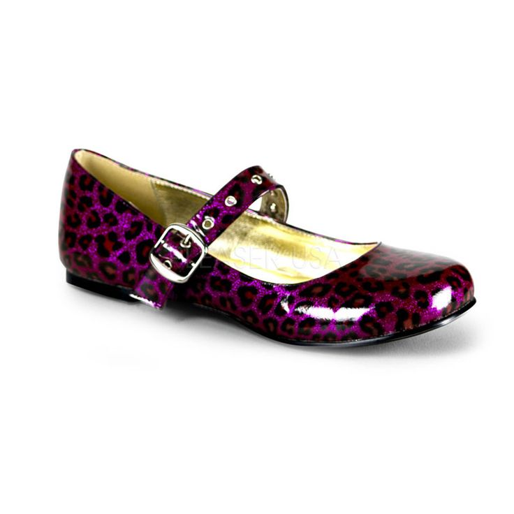 DEMONIA DAISY-04 Purple Pearlized Glitter Pat Ballet Flats