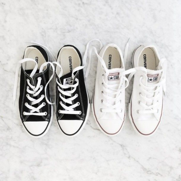Shoes: sneakers low top sneakers converse back to school college casual white sneakers black