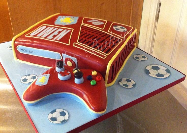Aston Villa themed Xbox cake