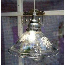 Ib Laursen Hængelampe i glas med mønster