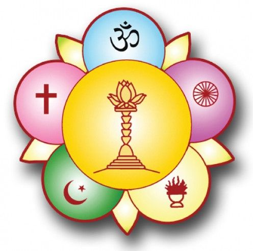 A colored version of the logo Baba designed to represent the unity of all faiths.