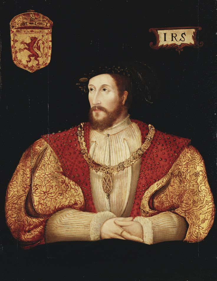 Half-length portrait of James V of Scotland (1512-42), facing the front, his head turned half to the left, wearing the collar of the Thistle over red coat and rests his clasped hands on a cushion. In the upper background are the royal arms of Scotland