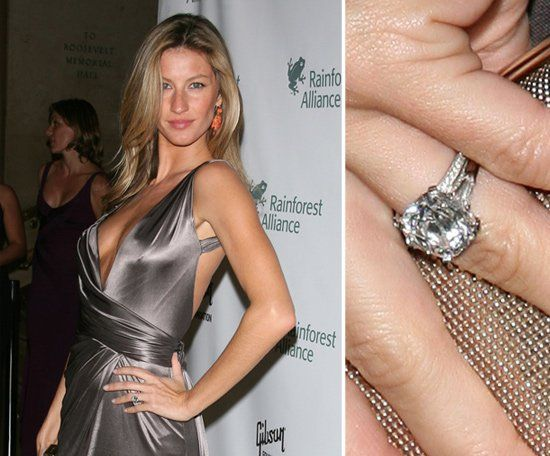 Pin for Later: The Very Best Celebrity Engagement Rings Gisele Bundchen Tom Brady proposed to Gisele Bundchen in January 2009 with a brilliant solitaire four-carat diamond.