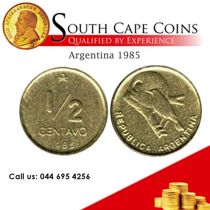Coins of the world! Argentina, 1985. Coins struck in brass; weight 3.6 grams; diameter 19.6mm. Obverse depicts Rufous Hornero bird.  For more information: info@southcapecoins.co.za #coins, #Argentina, #coinsoftheworld