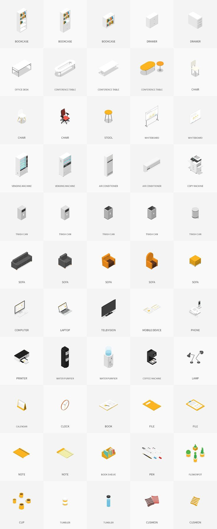 Isometric Office Pack by HNINE on @creativemarket