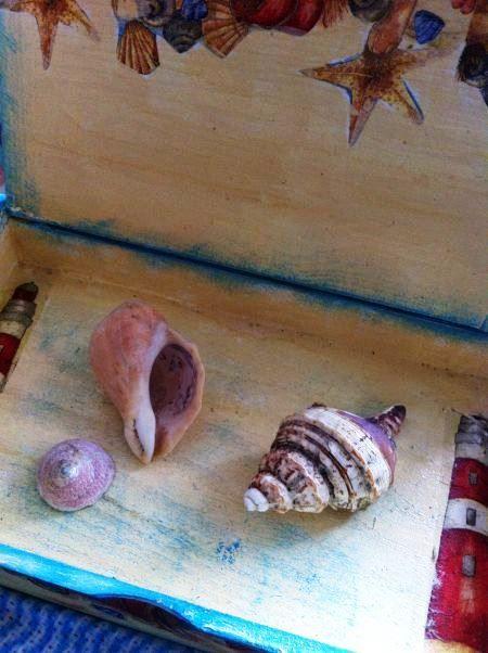 Декупаж деревянной коробки в морском стиле шебби шик фото