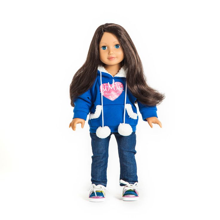 "Miss Maya dressed in ""Comfy"" hoody, ""Cool"" jeans and ""Rainbow"" shoes from MissMiniMe® 18 inch dolls"