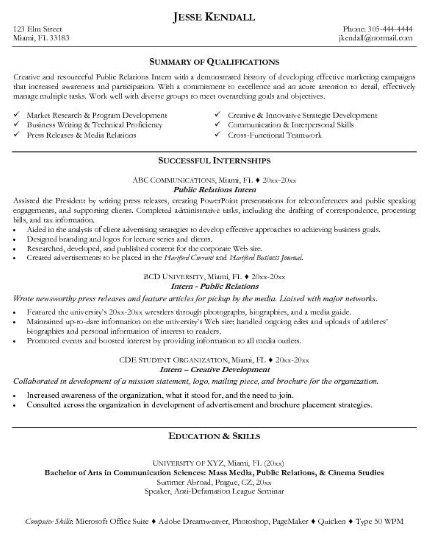 resume objectives for internships http