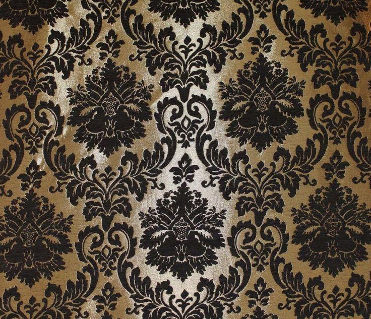 Barron Gold Damask Pattern Chenille Upholstery and Drapery