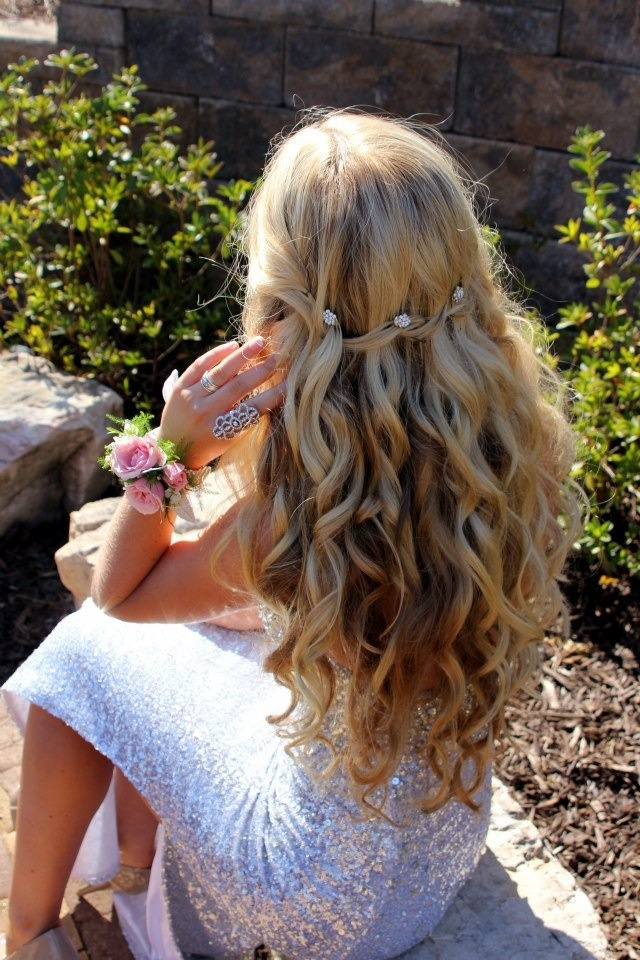 Prom hair, waterfall braid with curls