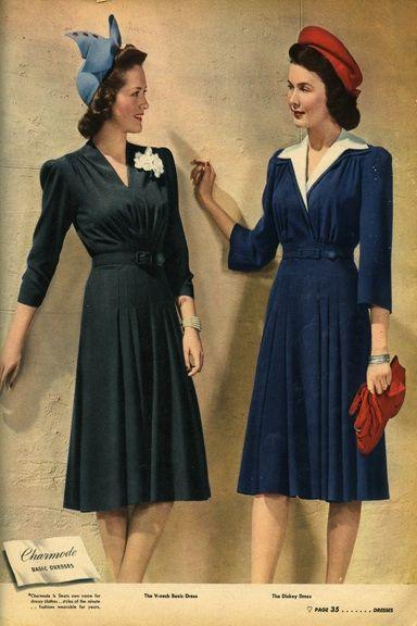 Two elegantly lovely 1940s v-neck daywear ... | Her Vintage Clothing …