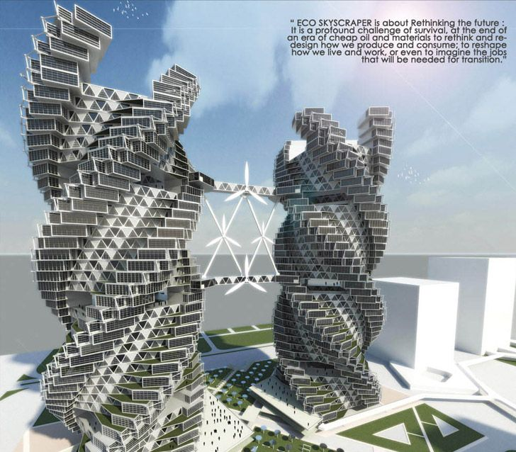 Architect Vikas Pawar's Eco Skyscraper concept envisions a tower that can provide clean water and food for the citizens of Noida, India.