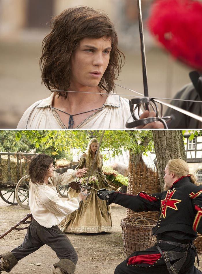 The Three Musketeers (2011) Starring: Logan Lerman as D'Artagnan, Gabriella Wilde as Constance Bonacieux, and Carsten Norgaard as Jussac.