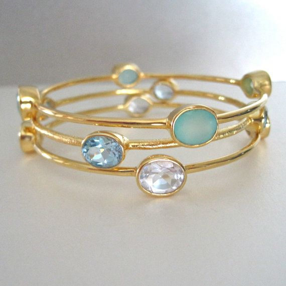 Three 18K Gold Vermeil Bangles with Blue Quartz, Sea foam Chalcedony & Rock…
