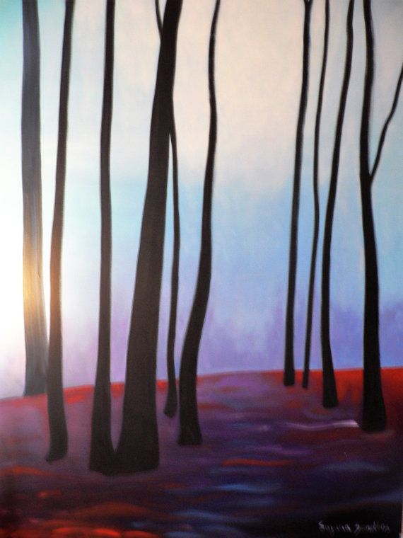 Large Original Woods Oil Painting on Gallery Canvas