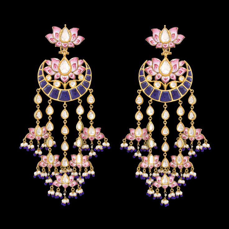 Chandbala style shoulder-dusters by Sunita Shekhawat with pink enamel