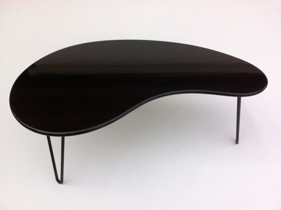 Black Mid Century Modern Coffee Table Kidney Bean Shaped Atomic Era Biomorphic Boomerang Design In Dyed Bamboo On Etsy 360 00 Pinterest