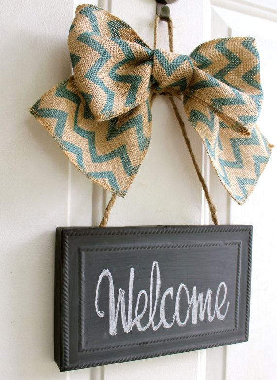 CHALKBOARD Welcome Sign Door Hanging Blue Chevron Burlap Bow -  Blackboard - Write your own message - Personalize Gift Housewarming