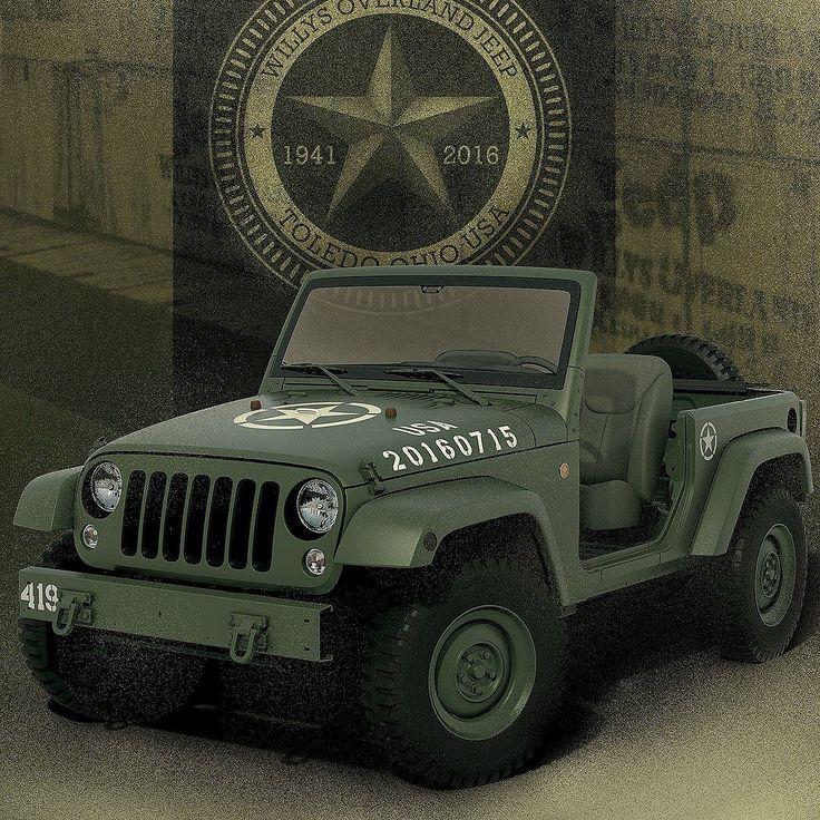 Jeep Wrangler 75th Salute 2016 Conceito Wrangler 75th Salute faz homenagem aos 75 anos do primeiro jipe utilizado durante a Segunda Guerra Mundial. O modelo apresenta a funcionalidade e a robustez do pioneiro Willys MB rodas inteiriças de aço de 16 polegadas pneus militares de 32 polegadas com banda de rodagem não-direcional (para o rastro não mostrar o sentido de rodagem). Há ainda travas do capô estepe na traseira assentos traseiros de lona para-choques de aço (o traseiro com ganchos de…
